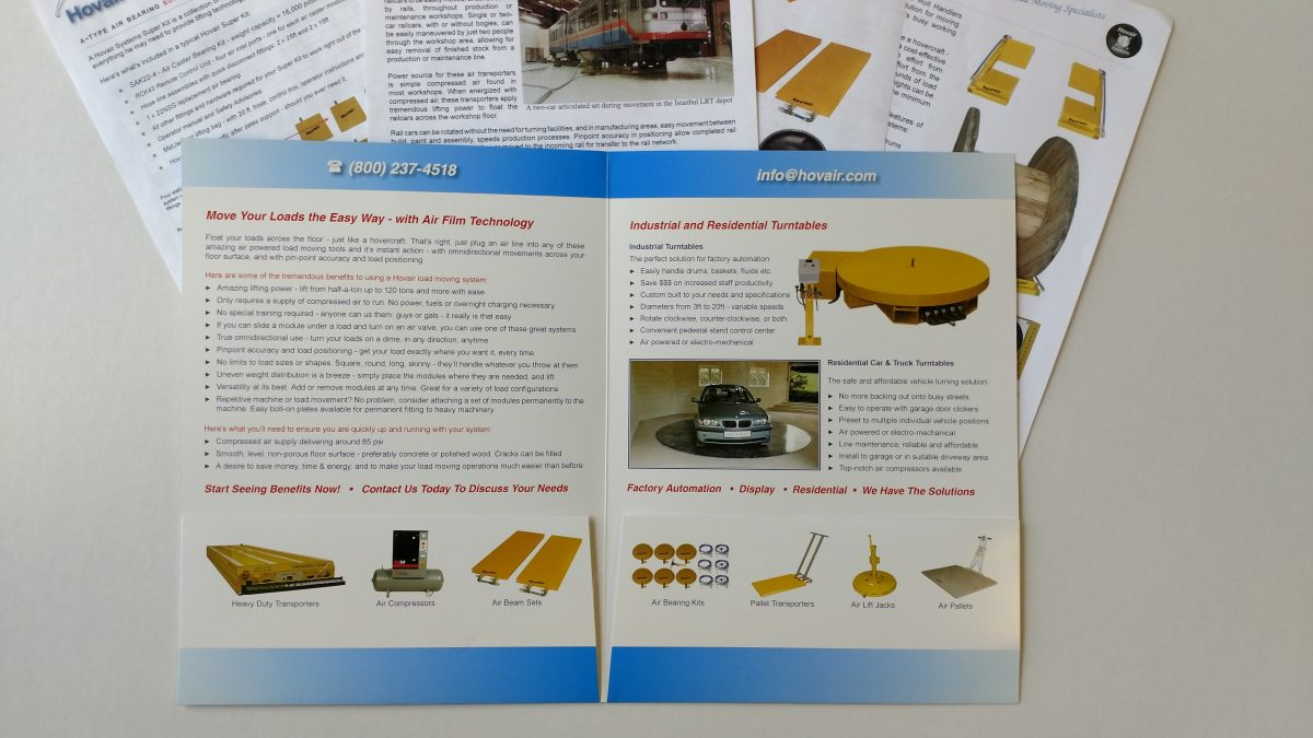 Brochures & Flyers For Air Bearings and Load Moving Systems
